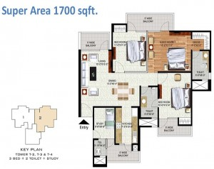 rudra uno floor plan 3bhk 2toilet 1700 sq.ft