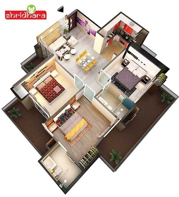shridhara vega homz floor plan 3bhk 2toilet 1329 sq.ft