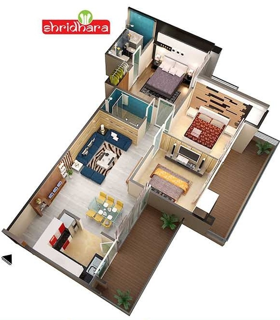 shridhara vega homz floor plan 3bhk 3toilet 1386 sq.ft