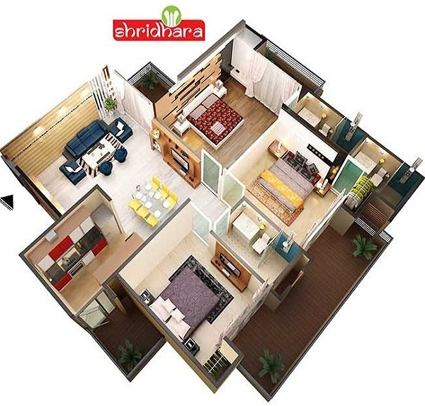 shridhara vega homz floor plan 3bhk 3toilet 1504 sq.ft