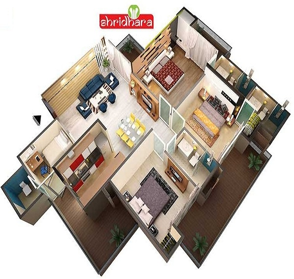 shridhara vega homz floor plan 3bhk 3toilet 1656 sq.ft