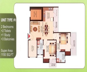aims green avenue floor plan 2bhk 2toilets 1150 sq.ft
