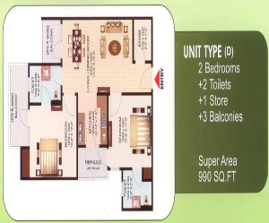 aims green avenue floor plan 2bhk 2toilets 990 sq.ft