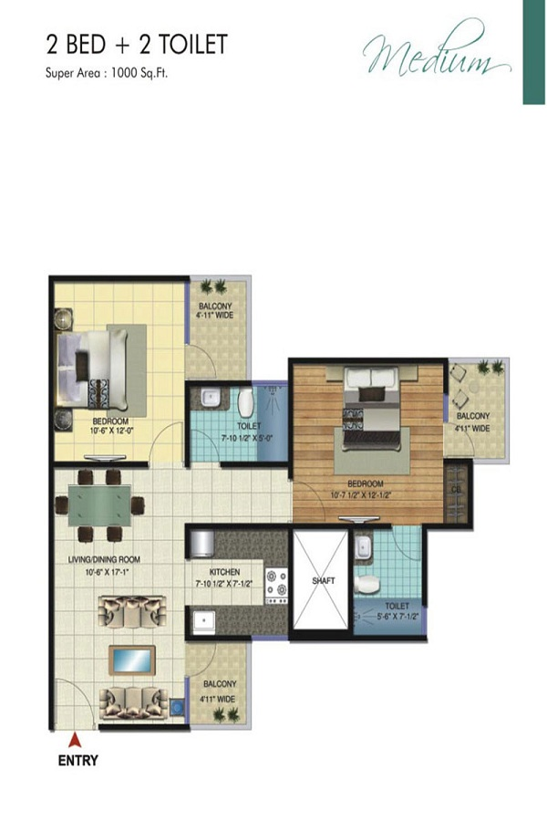 amrapali bollywood towers floor plan 2bhk 2toilet 1000 sq.ft