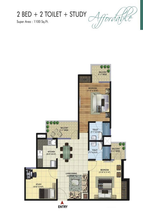 amrapali bollywood towers floor plan 2bhk 2toilet 1100 sq.ft