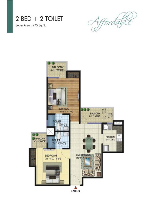amrapali bollywood towers floor plan 2bhk 2toilet 975 sq.ft