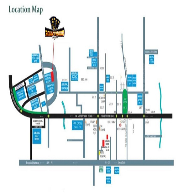 amrapali bollywood towers location map