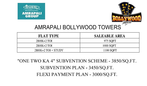 amrapali bollywood towers price list