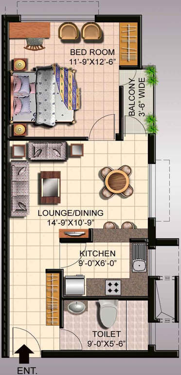 ansal api fairway apartment floor plan 1bhk 1toilet 820 sq.ft