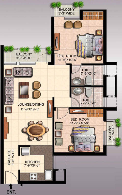 ansal api fairway apartment floor plan 2bhk 2toilet 1235 sq.ft