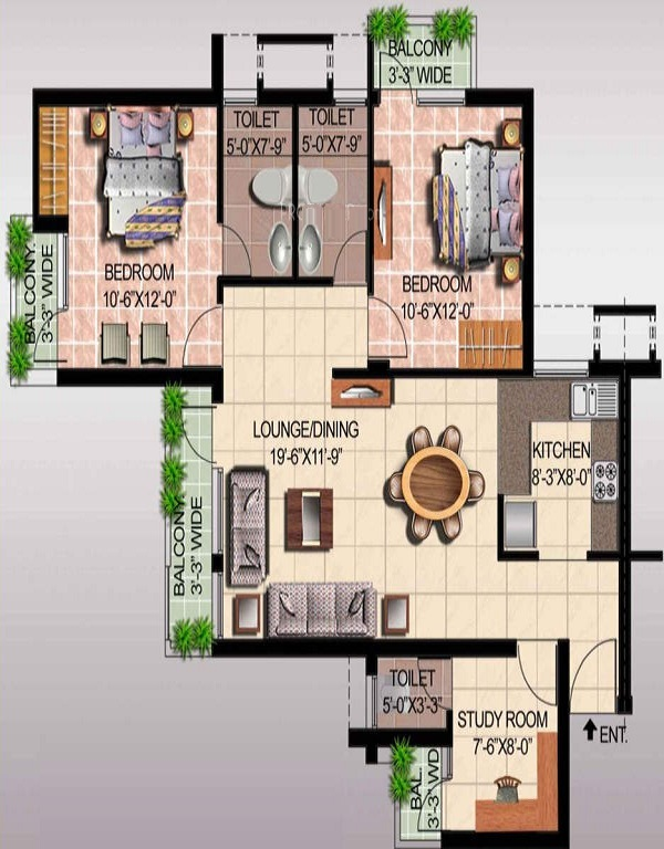 ansal api fairway apartment floor plan 3bhk 3toilet 1430 sq.ft