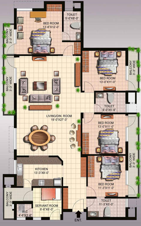 ansal api fairway apartment floor plan 4bhk 4toilet 2760 sq.ft