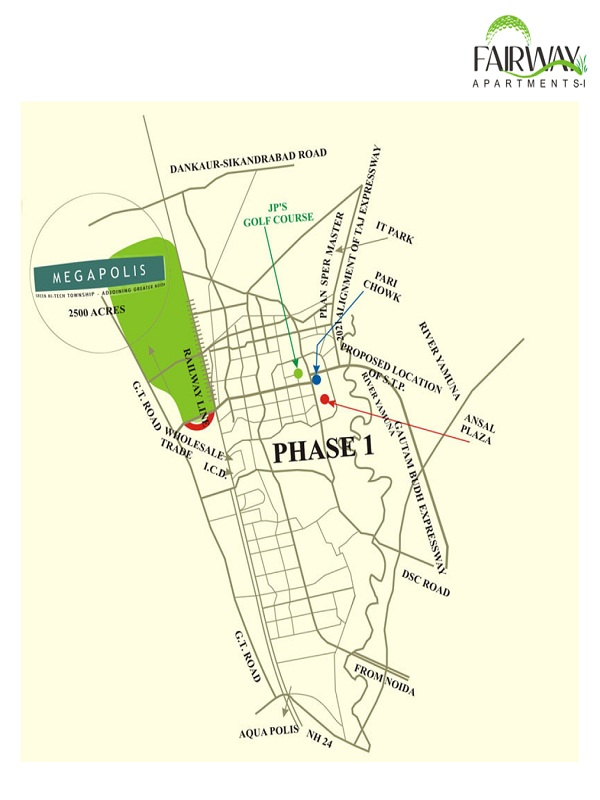 ansal api fairway apartment location map