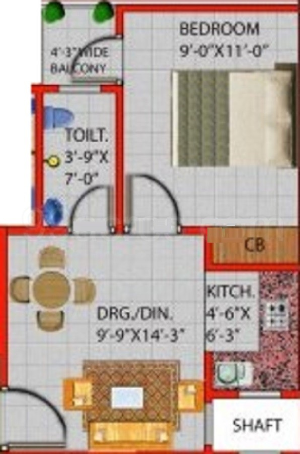 divyanka zeon floor plan 1bhk 1toilet 600 sq.ft