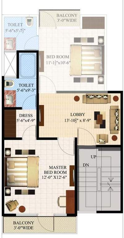 eleven acacia floor plan 3bhk 3toilet 1350 sq.ft