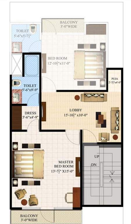eleven acacia floor plan 3bhk 3toilet 1650 sq.ft