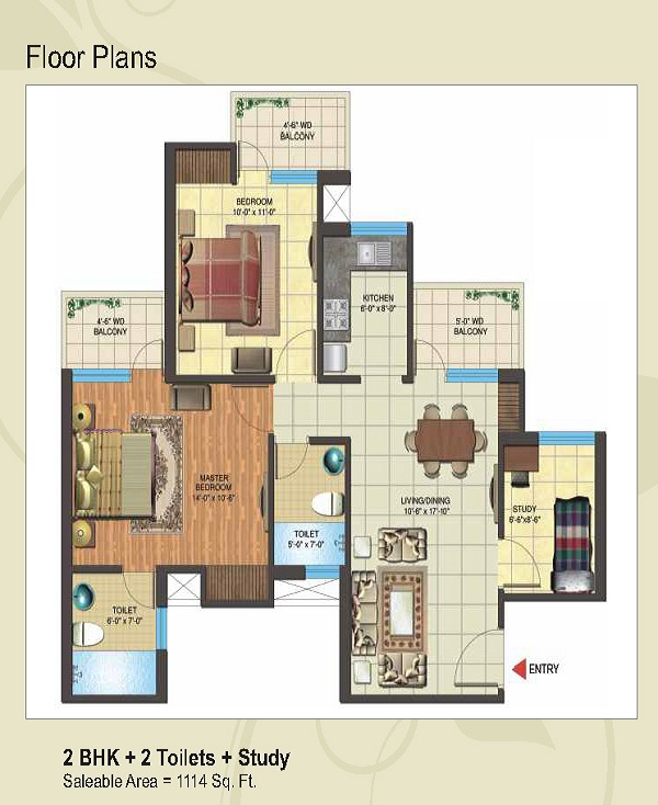 express park view II floor plan 2bhk 2toilets 1114 sq.ft