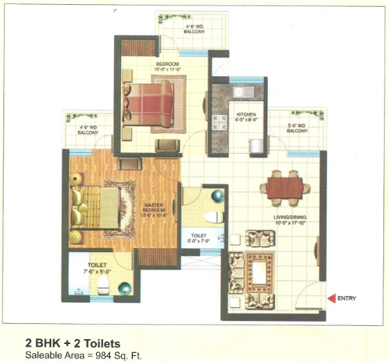 express park view II floor plan 2bhk 2toilets 984 sq.ft
