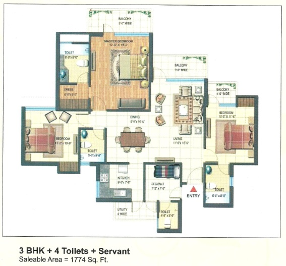 express park view II floor plan 3bhk 4toilets 1774 sq.ft
