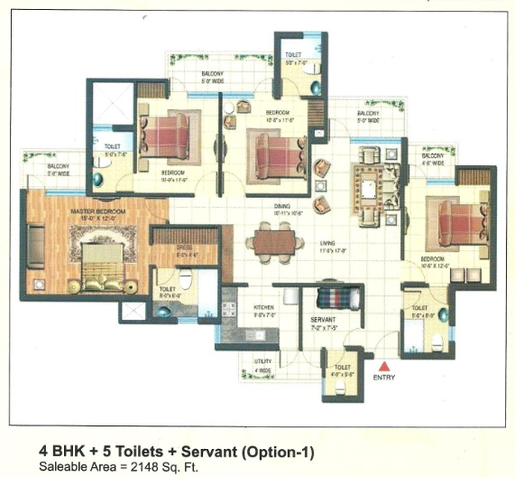 express park view II floor plan 4bhk 5toilets 2148 sq.ft