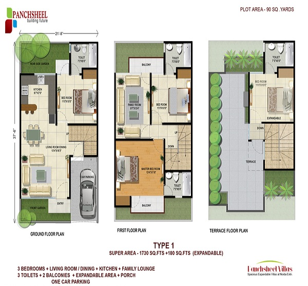 panchsheel villas floor plan 3bhk 3toilet 2325 sq.ft