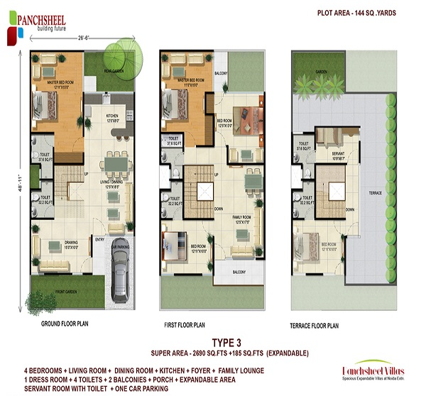 panchsheel villas floor plan 4bhk 4toilet 2690 sq.ft