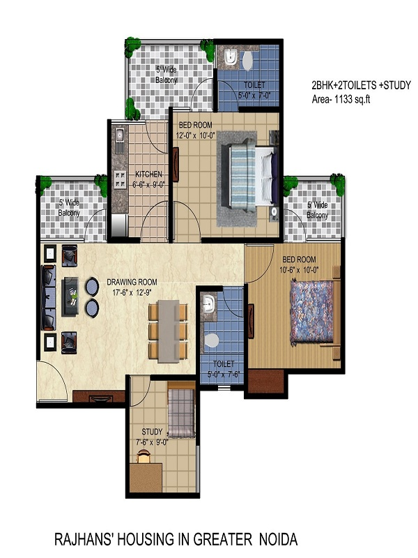 rajhans residency floor plan 2bhk 2toilet 1113sq.ft