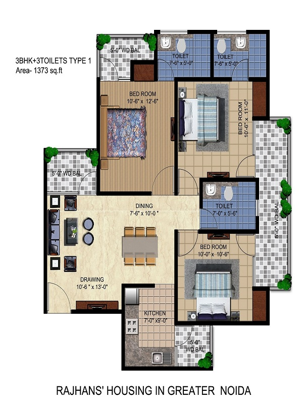 rajhans residency floor plan 3bhk 3toilet 1373 sq.ft