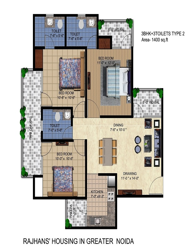 rajhans residency floor plan 3bhk 3toilet 1400 sq.ft