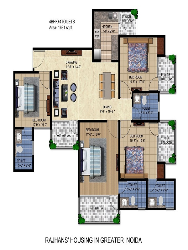 rajhans residency floor plan 4bhk 4toilet 1631 sq.ft