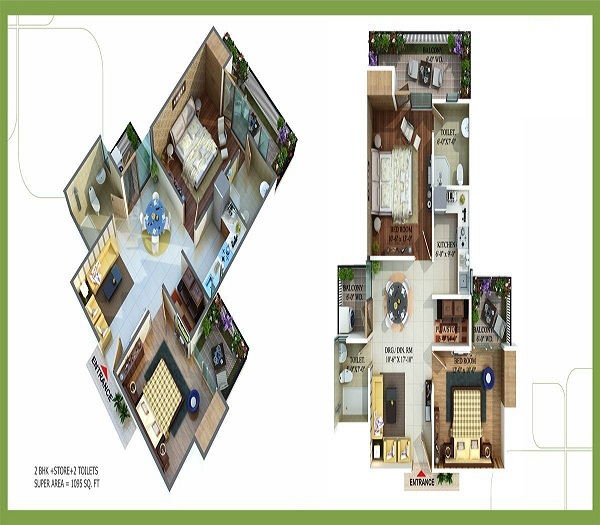 royal nests floor plan 2bhk 2toilets  1095 sq.ft