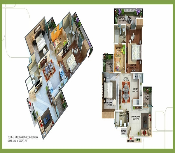 royal nests floor plan 2bhk 2toilets  1295 sq.ft