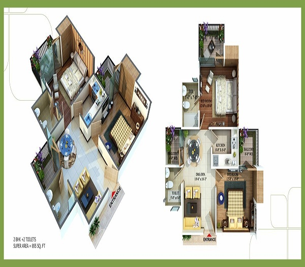 royal nests floor plan 2bhk 2toilets  895 sq.ft