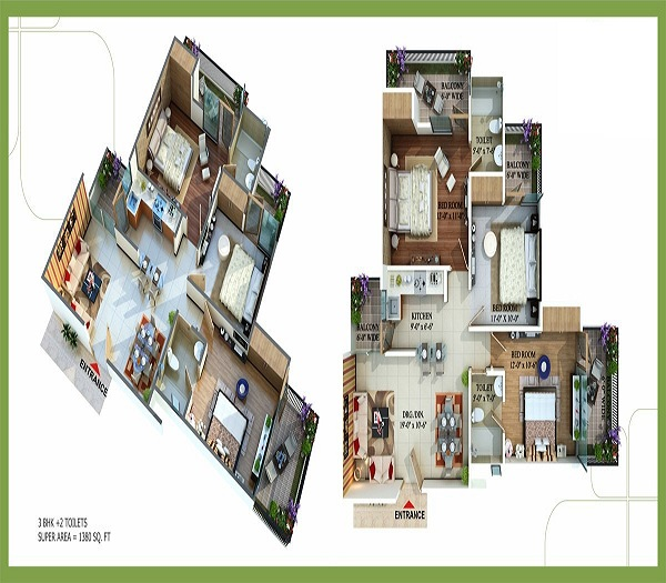 royal nests floor plan 3bhk 2toilets  1380 sq.ft