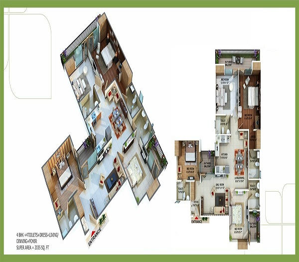 royal nests floor plan 4bhk 4toilets  2350 sq.ft