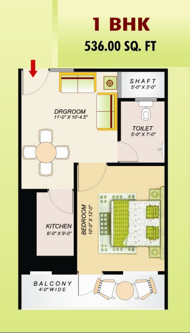 ss emerald floor plan 1bhk 1toilet 536 sq.ft