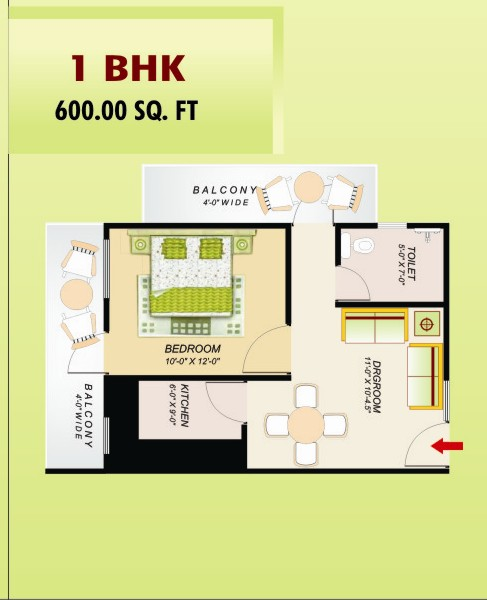 ss emerald floor plan 1bhk 1toilet 600 sq.ft