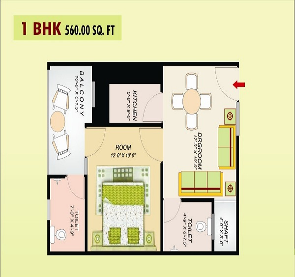 ss emerald floor plan 1bhk 2toilet 560 sq.ft