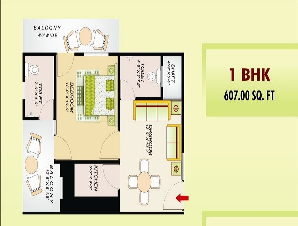 ss emerald floor plan 2bhk 2toilet 607 sq.ft