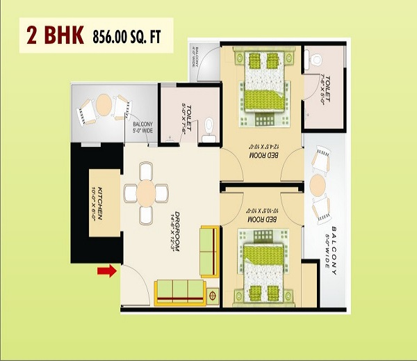 ss emerald floor plan 2bhk 2toilet 856 sq.ft