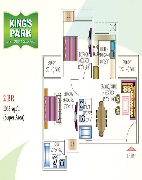 today kings park floor plan 2bhk 2toilet 1035 sq.ft1