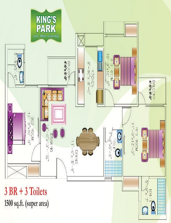 today kings park floor plan 3bhk 3toilet 1500 sq.ft1
