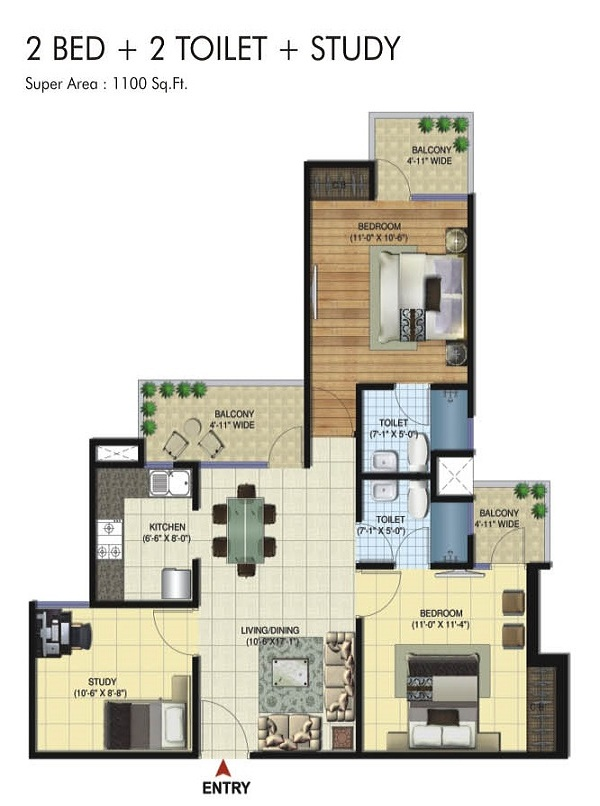 amrapali twin towers floor plan 2bhk 2to