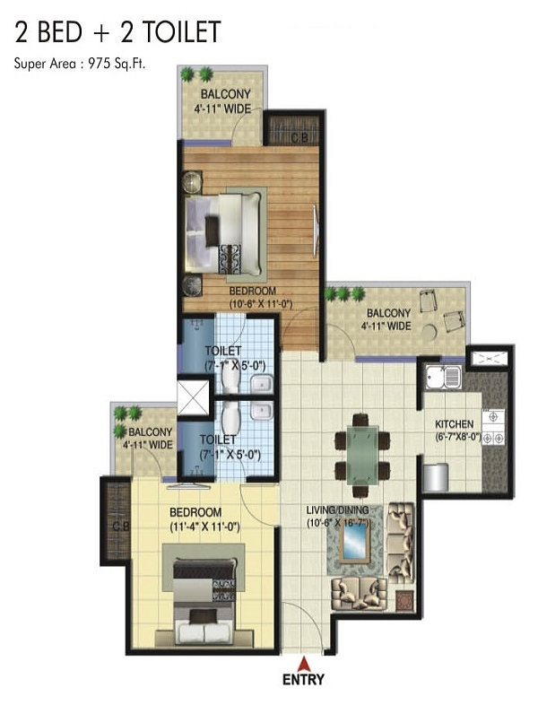 amrapali twin towers floor plan 2bhk 2toilet 975 sq.ft