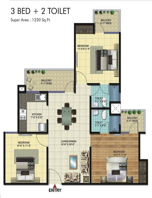 amrapali twin towers floor plan 3bhk 2toilet 1220 sq.ft