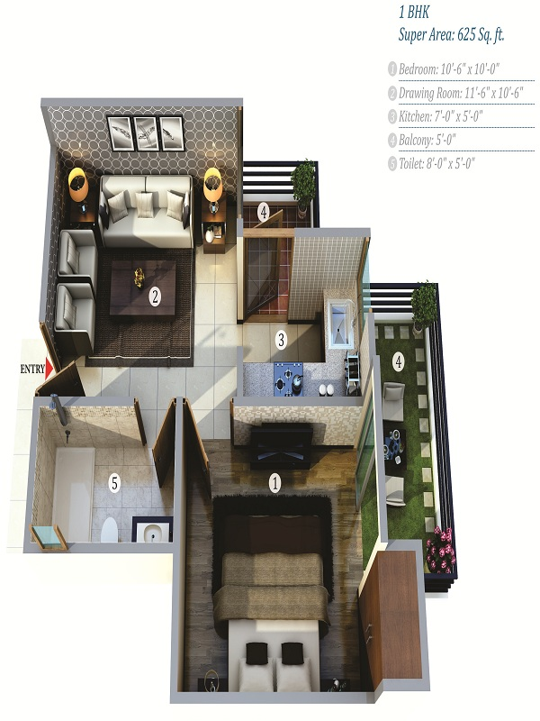 life apartment floor plan 1bhk 1toilet 625 sq.ft
