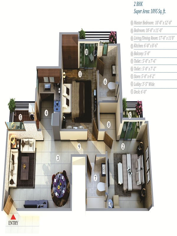 life apartment floor plan 2bhk 2toilet 1095 sq.ft