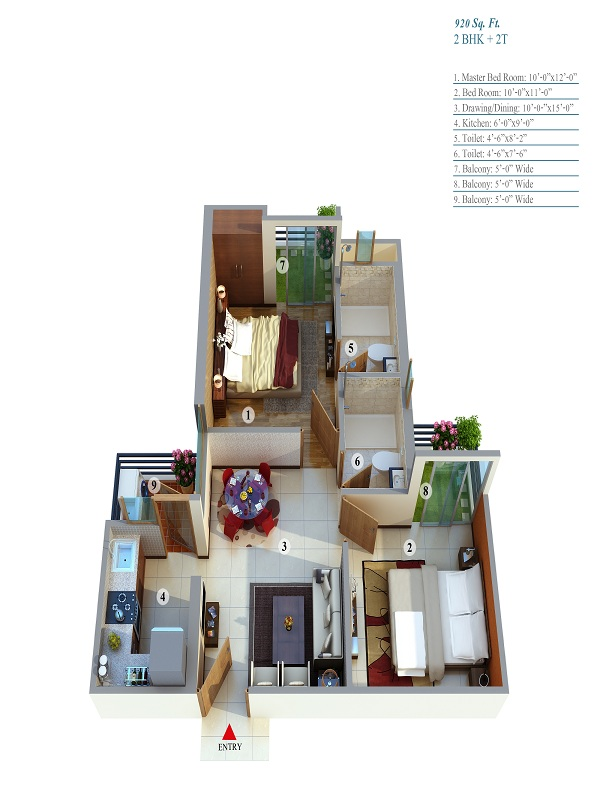 life apartment floor plan 2bhk 2toilet 920 sq.ft