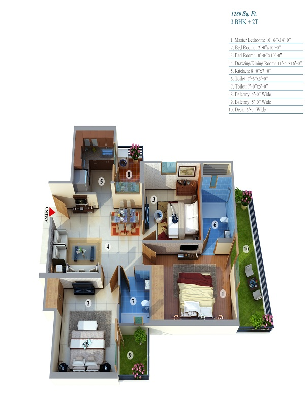 life apartment floor plan 3bhk 2toilet 1280 sq.ft