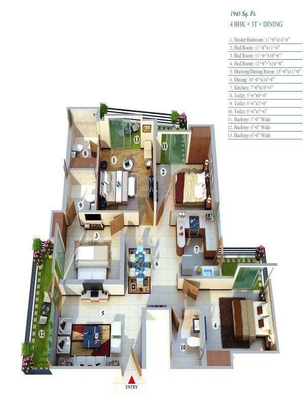 life apartment floor plan 4bhk 3toilet 1945 sq.ft